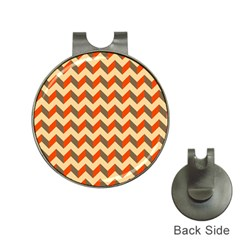 Modern Retro Chevron Patchwork Pattern  Hat Clip With Golf Ball Marker by creativemom