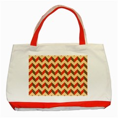 Modern Retro Chevron Patchwork Pattern  Classic Tote Bag (red) by creativemom