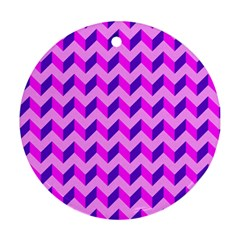 Modern Retro Chevron Patchwork Pattern Round Ornament (two Sides) by creativemom