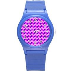 Modern Retro Chevron Patchwork Pattern Plastic Sport Watch (small) by creativemom