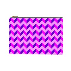 Modern Retro Chevron Patchwork Pattern Cosmetic Bag (large) by creativemom