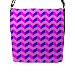 Modern Retro Chevron Patchwork Pattern Flap Closure Messenger Bag (large) by creativemom