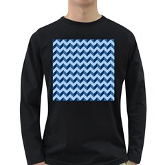 Tiffany Blue Modern Retro Chevron Patchwork Pattern Men s Long Sleeve T Shirt (dark Colored) by creativemom