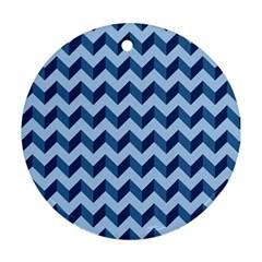 Tiffany Blue Modern Retro Chevron Patchwork Pattern Round Ornament (two Sides) by creativemom