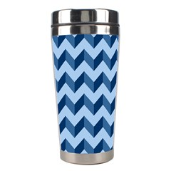 Tiffany Blue Modern Retro Chevron Patchwork Pattern Stainless Steel Travel Tumbler by creativemom