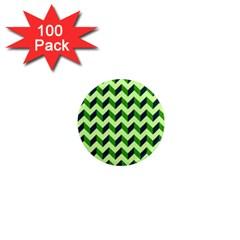 Green Modern Retro Chevron Patchwork Pattern 1  Mini Button Magnet (100 Pack) by creativemom