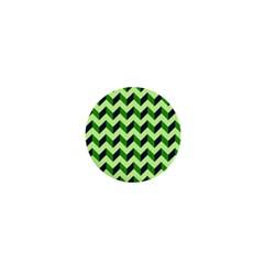 Green Modern Retro Chevron Patchwork Pattern 1  Mini Button by creativemom