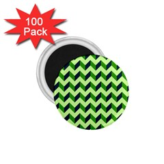 Green Modern Retro Chevron Patchwork Pattern 1 75  Button Magnet (100 Pack) by creativemom