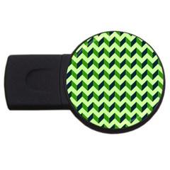 Green Modern Retro Chevron Patchwork Pattern 4gb Usb Flash Drive (round) by creativemom