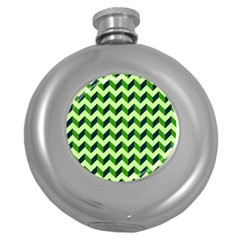 Green Modern Retro Chevron Patchwork Pattern Hip Flask (round) by creativemom