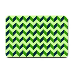 Green Modern Retro Chevron Patchwork Pattern Small Door Mat by creativemom