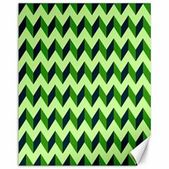 Green Modern Retro Chevron Patchwork Pattern Canvas 11  X 14  (unframed) by creativemom