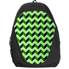 Green Modern Retro Chevron Patchwork Pattern Backpack Bag by creativemom