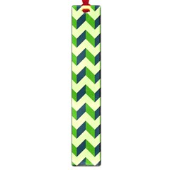 Green Modern Retro Chevron Patchwork Pattern Large Bookmark by creativemom