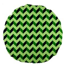 Green Modern Retro Chevron Patchwork Pattern 18  Premium Flano Round Cushion  by creativemom