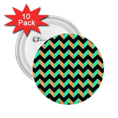 Neon And Black Modern Retro Chevron Patchwork Pattern 2 25  Button (10 Pack) by creativemom