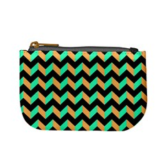 Neon And Black Modern Retro Chevron Patchwork Pattern Coin Change Purse by creativemom