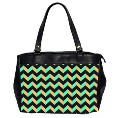 Neon And Black Modern Retro Chevron Patchwork Pattern Oversize Office Handbag (two Sides) by creativemom
