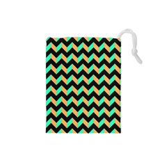 Neon And Black Modern Retro Chevron Patchwork Pattern Drawstring Pouch (small) by creativemom