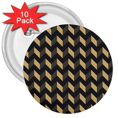 Tan Gray Modern Retro Chevron Patchwork Pattern 3  Button (10 Pack) by creativemom