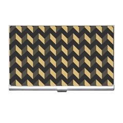 Tan Gray Modern Retro Chevron Patchwork Pattern Business Card Holder by creativemom