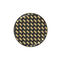 Tan Gray Modern Retro Chevron Patchwork Pattern Golf Ball Marker (for Hat Clip) by creativemom