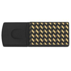 Tan Gray Modern Retro Chevron Patchwork Pattern 4GB USB Flash Drive (Rectangle) by creativemom