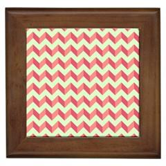 Mint Pink Modern Retro Chevron Patchwork Pattern Framed Ceramic Tile by creativemom