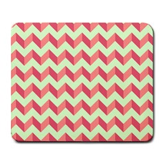Mint Pink Modern Retro Chevron Patchwork Pattern Large Mouse Pad (rectangle) by creativemom