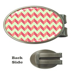 Mint Pink Modern Retro Chevron Patchwork Pattern Money Clip (oval) by creativemom
