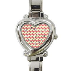 Mint Pink Modern Retro Chevron Patchwork Pattern Heart Italian Charm Watch