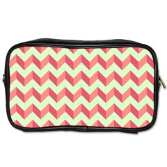 Mint Pink Modern Retro Chevron Patchwork Pattern Travel Toiletry Bag (Two Sides) by creativemom