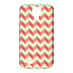 Mint Pink Modern Retro Chevron Patchwork Pattern Samsung Galaxy S4 Classic Hardshell Case (PC+Silicone) by creativemom
