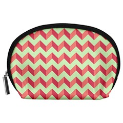 Mint Pink Modern Retro Chevron Patchwork Pattern Accessory Pouch (large) by creativemom