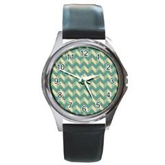 Mint Modern Retro Chevron Patchwork Pattern Round Leather Watch (silver Rim) by creativemom