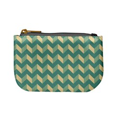 Mint Modern Retro Chevron Patchwork Pattern Coin Change Purse by creativemom