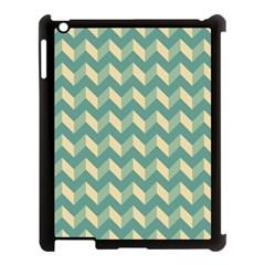 Mint Modern Retro Chevron Patchwork Pattern Apple Ipad 3/4 Case (black) by creativemom