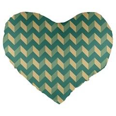 Mint Modern Retro Chevron Patchwork Pattern 19  Premium Heart Shape Cushion by creativemom