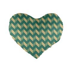 Mint Modern Retro Chevron Patchwork Pattern 16  Premium Flano Heart Shape Cushion  by creativemom
