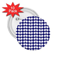 Blue And White Leaf Pattern 2 25  Button (10 Pack) by creativemom