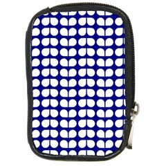 Blue And White Leaf Pattern Compact Camera Leather Case by creativemom