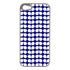 Blue And White Leaf Pattern Apple Iphone 5 Case (silver) by creativemom