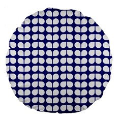 Blue And White Leaf Pattern 18  Premium Round Cushion  by creativemom
