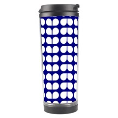 Blue And White Leaf Pattern Travel Tumbler by creativemom