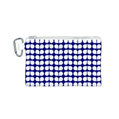 Blue And White Leaf Pattern Canvas Cosmetic Bag (small) by creativemom