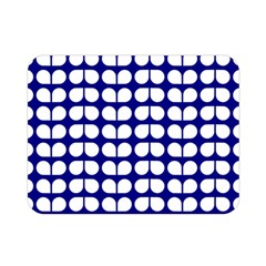 Blue And White Leaf Pattern Double Sided Flano Blanket (mini)