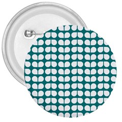Teal And White Leaf Pattern 3  Button by creativemom