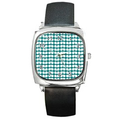 Teal And White Leaf Pattern Square Leather Watch by creativemom