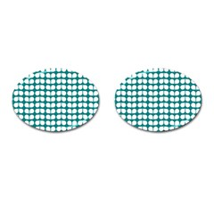 Teal And White Leaf Pattern Cufflinks (oval) by creativemom