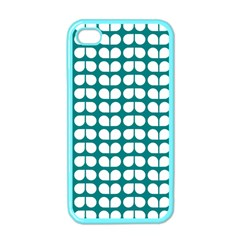 Teal And White Leaf Pattern Apple Iphone 4 Case (color) by creativemom